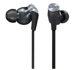 Sony MDR XB90EX earbuds white background