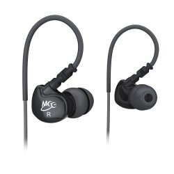 black MEEletronics Sport-Fi M6 earbuds white background