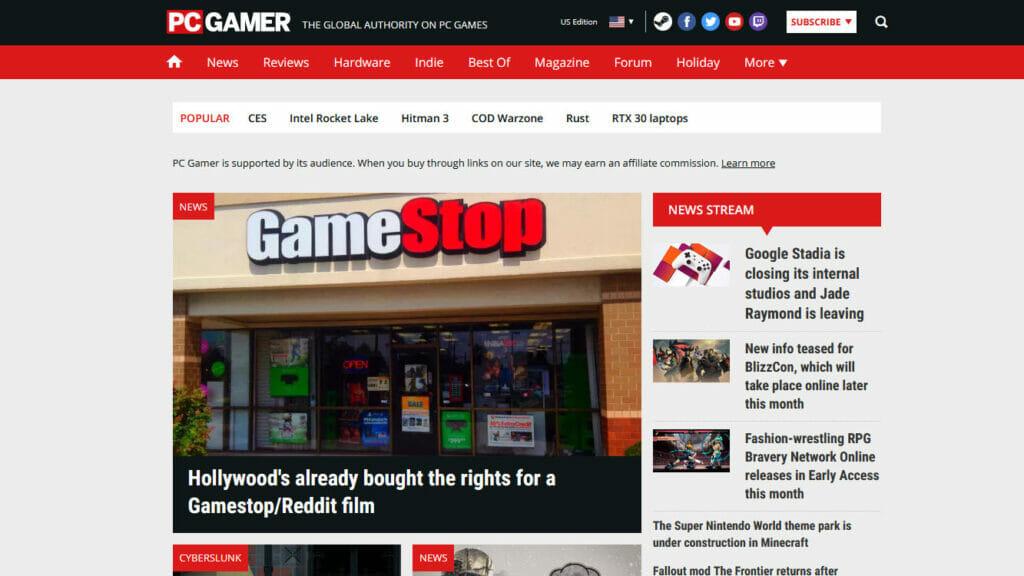PCGamer website