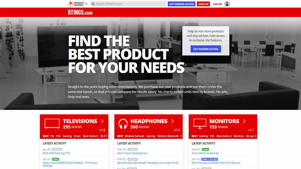 Rtings website