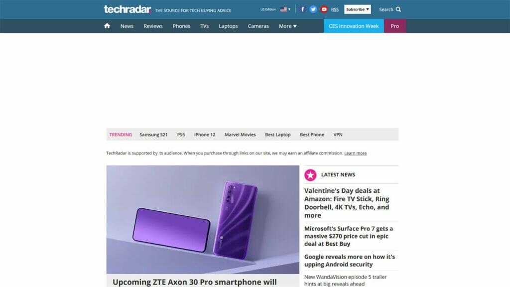 TechRadar website