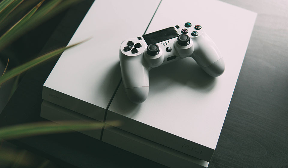 White PlayStation4 gaming console