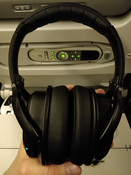 CB3 Hush NC headphones on airplane