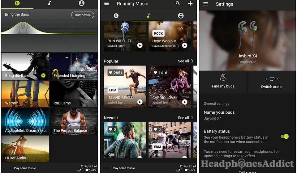Jaybird X4 app functions