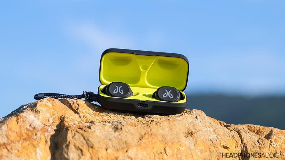 Jaybird Vista true wireless earbuds on a rock