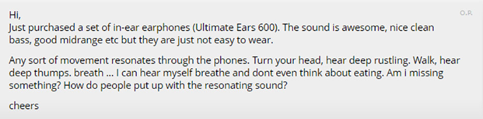 User complaining about cable noise