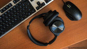 Treblab Z2 Bluetooth headphones on the table