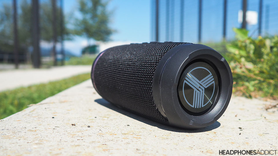 Treblab HD77 Bluetooth speaker on a bench