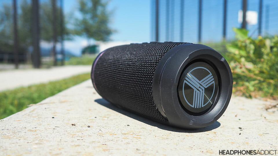 Treblab HD77 Bluetooth speaker on a bench