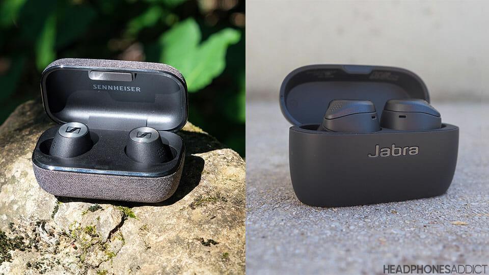 Sennheiser Momentum True Wireless 2 vs. Jabra Elite Active 75t charging cases