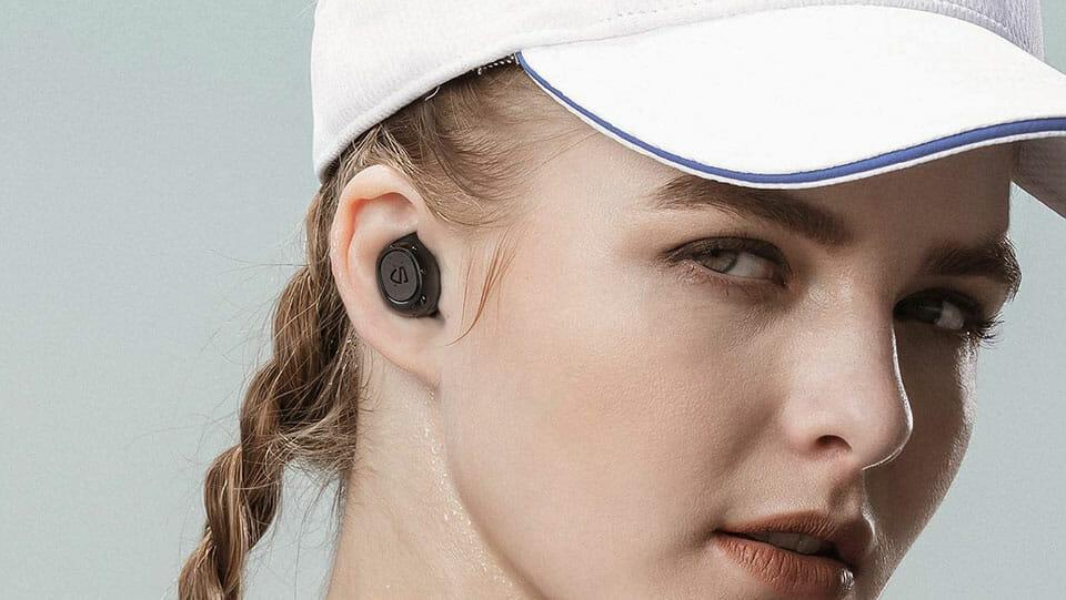 SoundPEATS TrueFree2 woman wearing earbuds